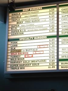 Burger Inn menu
